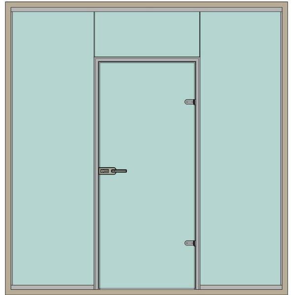 Стеклянные перегородки с дверьми в коробке эскиз