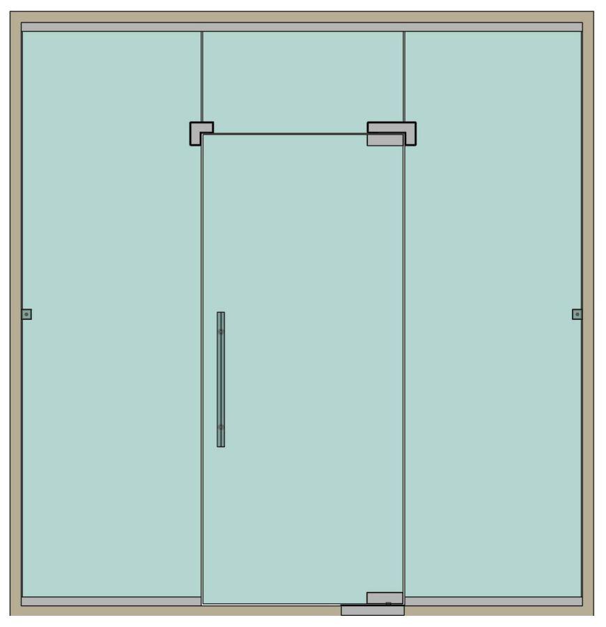 Стеклянные перегородки с маятниковой дверью эскиз